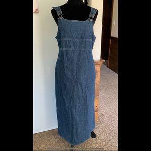 12 LLBean Blue Denim Overalls Dress Jumper Country